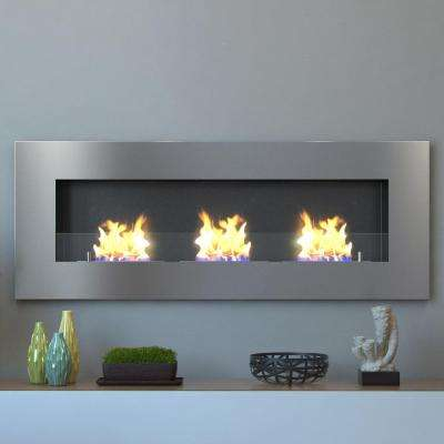 Hudson 59 in. Recessed Wall Mounted Ethanol Fireplace in Stainless Steel