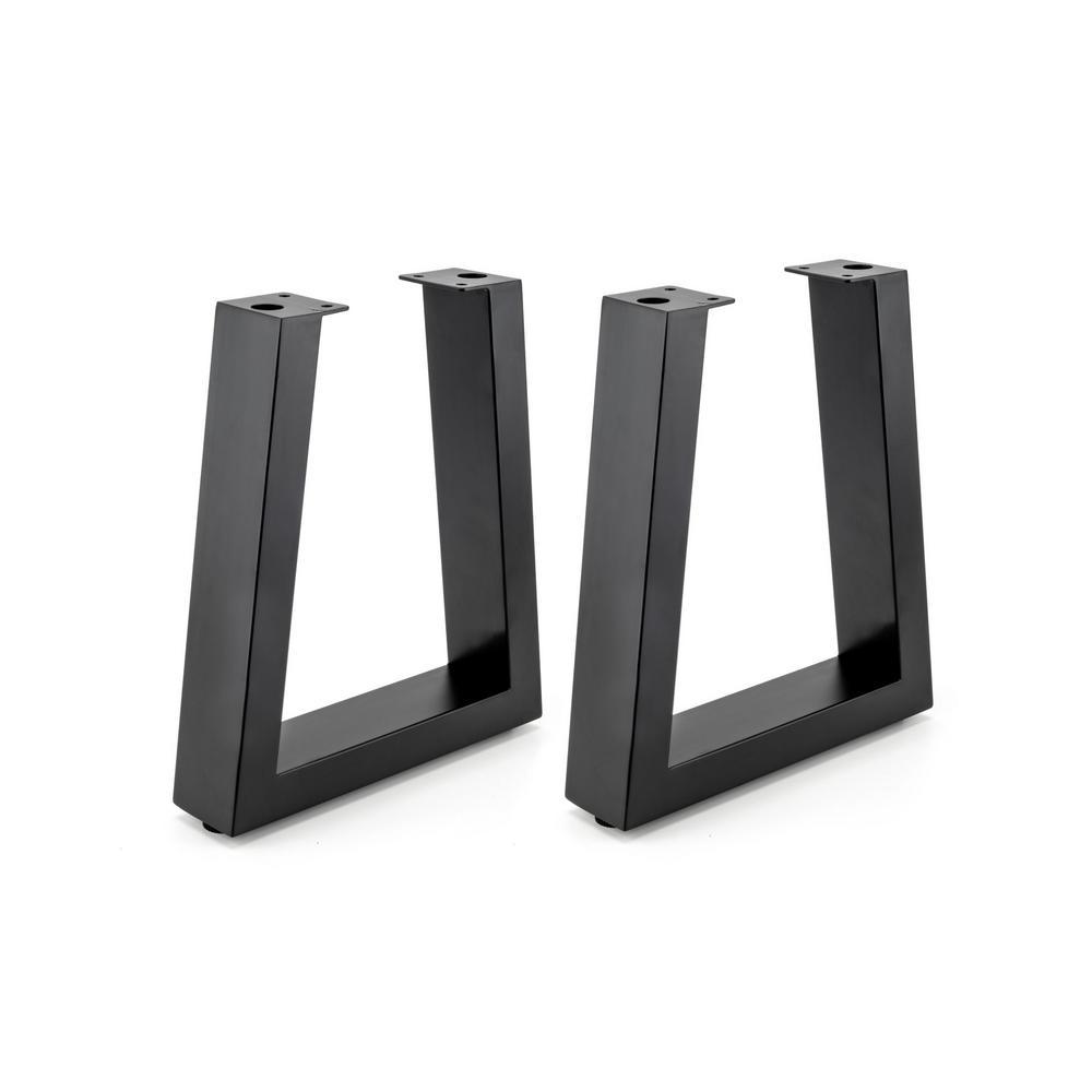 16-1/8 in. (410 mm) Matte Black Adjustable Tapered Bench Legs(2-Pack)