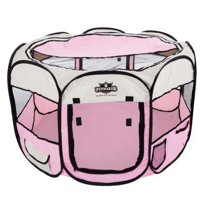 38 in. x 38 in. Portable Pop Up Pet Play Pen with Carrying Bag in Pink