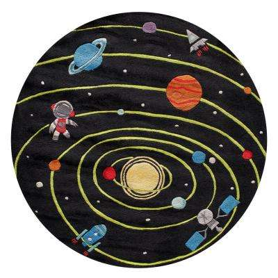 Lil Mo Whimsy Solar Black 5 ft. x 5 ft. Indoor Kids Round Area Rug