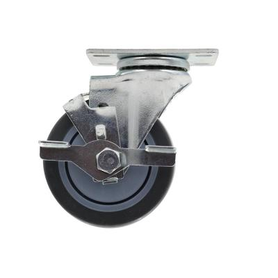 4 in. Medium Duty Gray TPR Swivel Plate Caster with 250 lbs. Weight Capacity