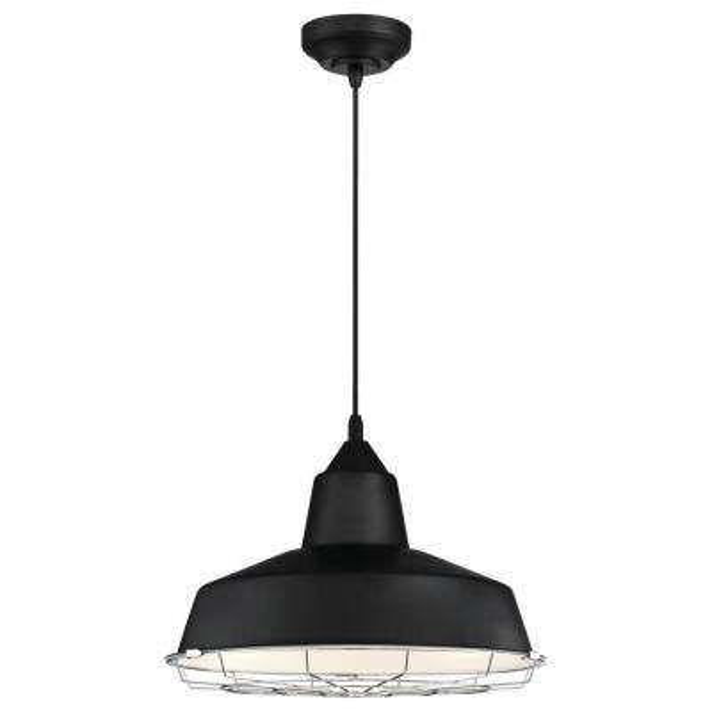Academy 100-Watt Black and Chrome Integrated LED Pendant