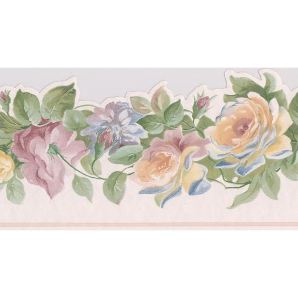 Yellow Pink Purple Roses on Vine Floral Prepasted Wallpaper Border