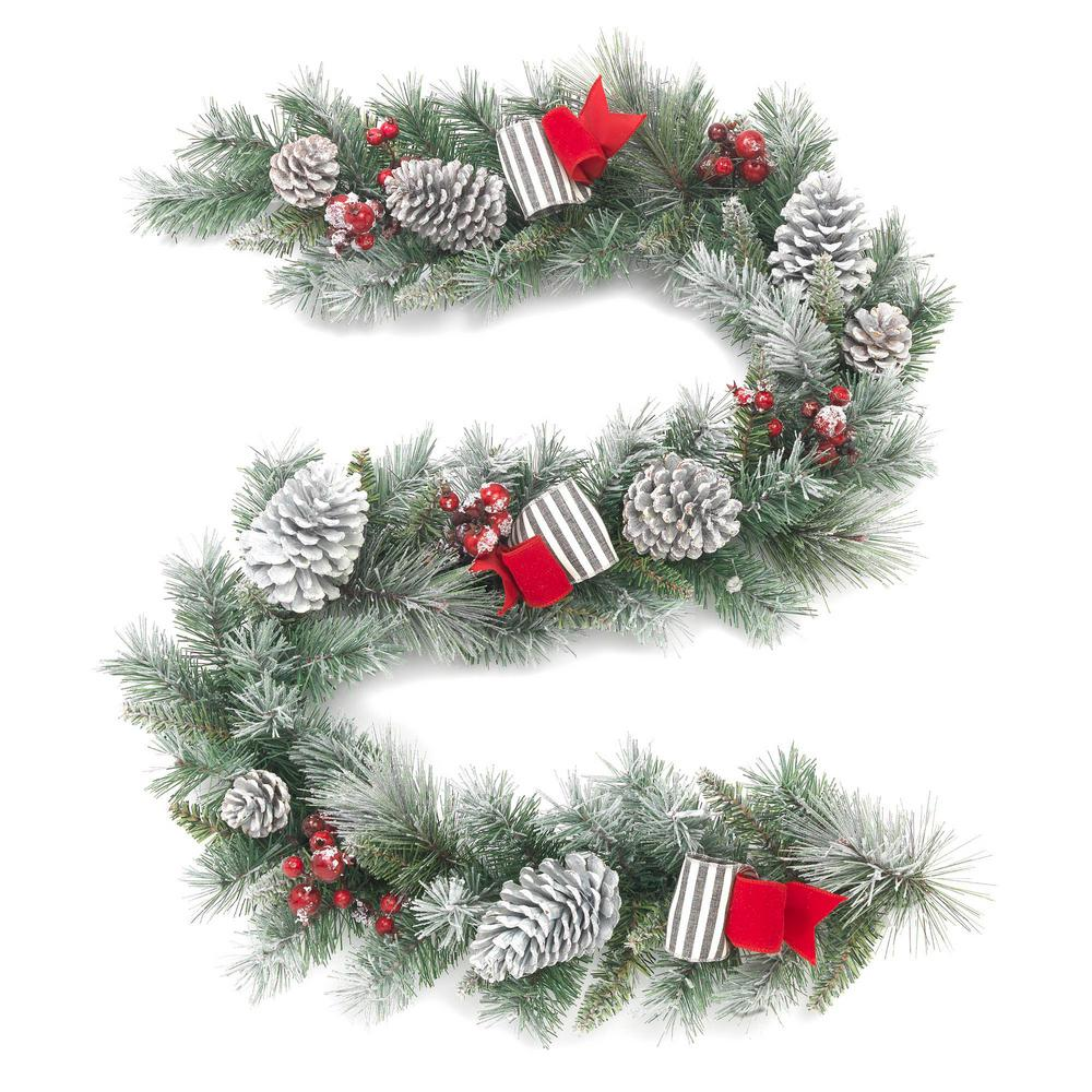 Home Accents Holiday 6 ft. Unlit Snowy Garland with Pinecones and Bows