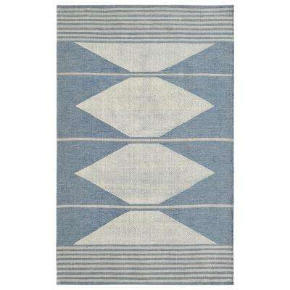 Oak Blue/Ivory 8 ft. x 10 ft. Modern Cotton/Wool Area Rug