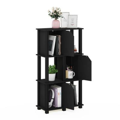 Brahms 43.8 in. Black Oak 4 Shelf Etagere Bookcase with 3 Doors