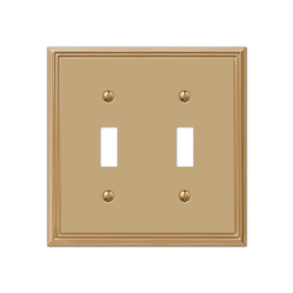 Rhodes 2 Toggle Wall Plate - Brushed Bronze Cast
