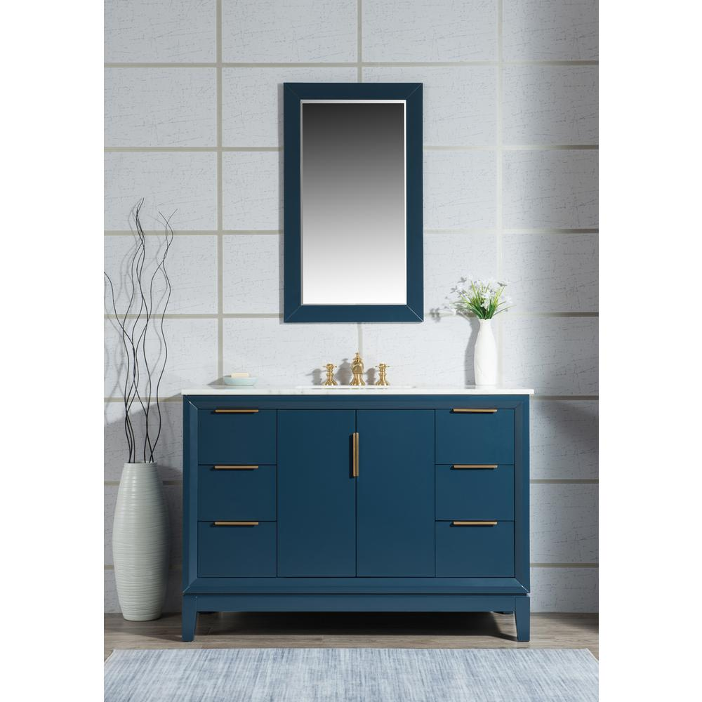 Water Creation Elizabeth 48 in. Bath Vanity in Monarch Blue with Carrara White Marble Vanity Top with Ceramics White Basins and Faucet