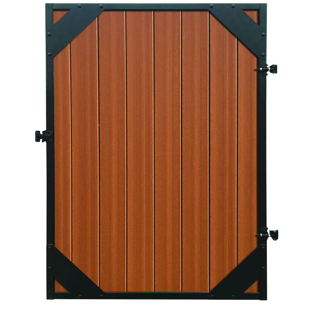 Mesa 4 ft. x 6 ft. Timber Brown/Black Composite/Steel Fence Gate