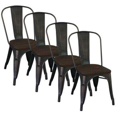 Gunmetal Metal and Elm Wood Dining Chair (Set of 4)