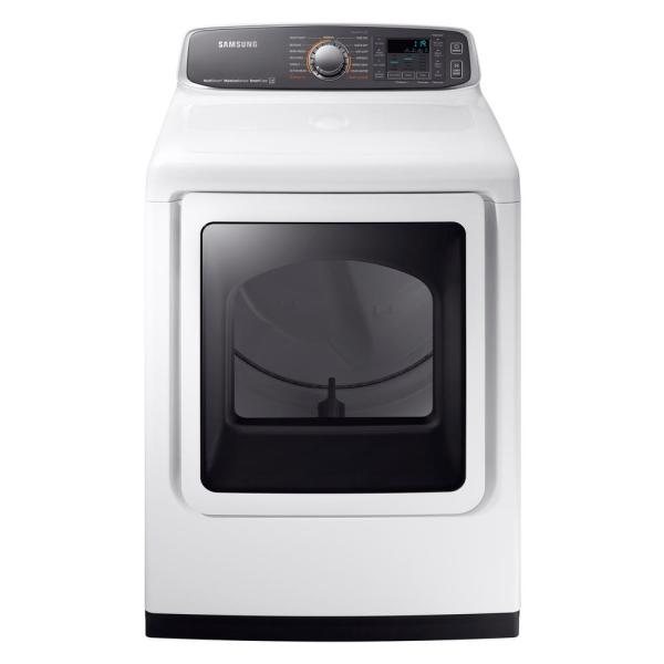 Samsung 7.4 cu. ft. Electric Dryer with Steam in White, ENERGY STAR