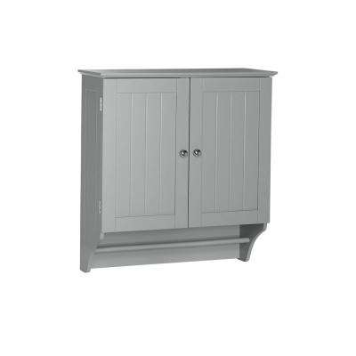 Ashland 23-4/5 in. W x 25-2/5 in. H x 8-43/50 in. D 2-Door Bathroom Storage Wall Cabinet in Gray