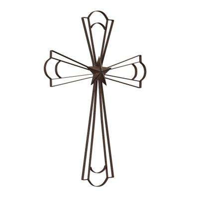 Metal Wall Cross with Decorative Center Star