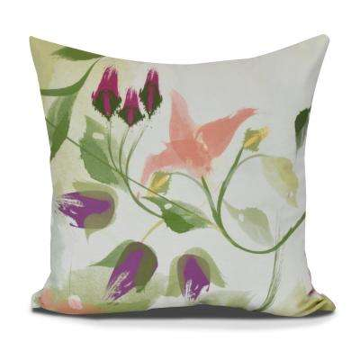 Windy Bloom Floral Print Decorative Pillow