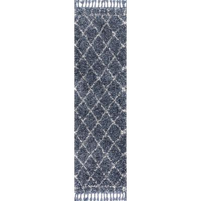 Mercer Shag Plush Tassel Moroccan Geometric Trellis Denim Blue/Cream 2 ft. x 8 ft. Runner Rug
