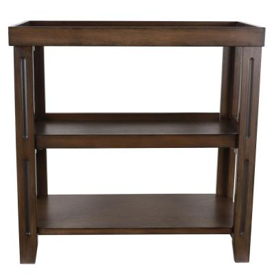 Trace 24 in. 3-Shelf British Brown End Table