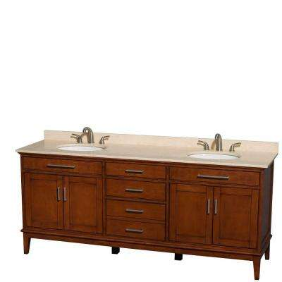 Hatton 80 in. Double Vanity in Light Chestnut with Marble Vanity Top in Ivory and Oval Sinks