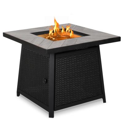 29.9 in. W x 29.9 in. D x 24.8 in. H Square Metal Outdoor Rattan Propane Fire Pit