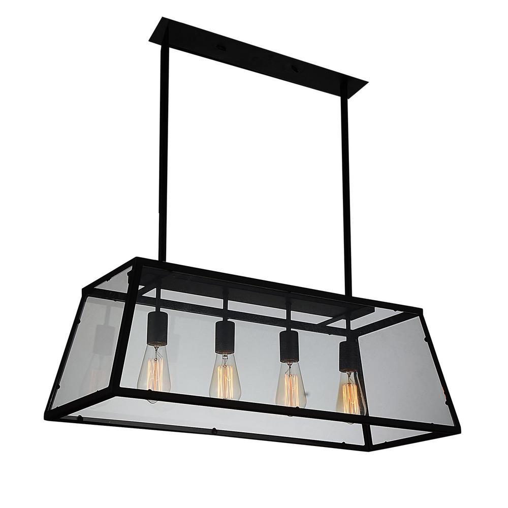 CWI Lighting Alyson 4-Light Black Chandelier