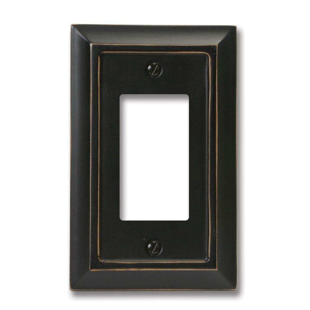 Amerelle Distressed 1 Decora Wall Plate - Black
