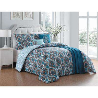 Everly 7-Piece Teal King Comforter Set with Throw