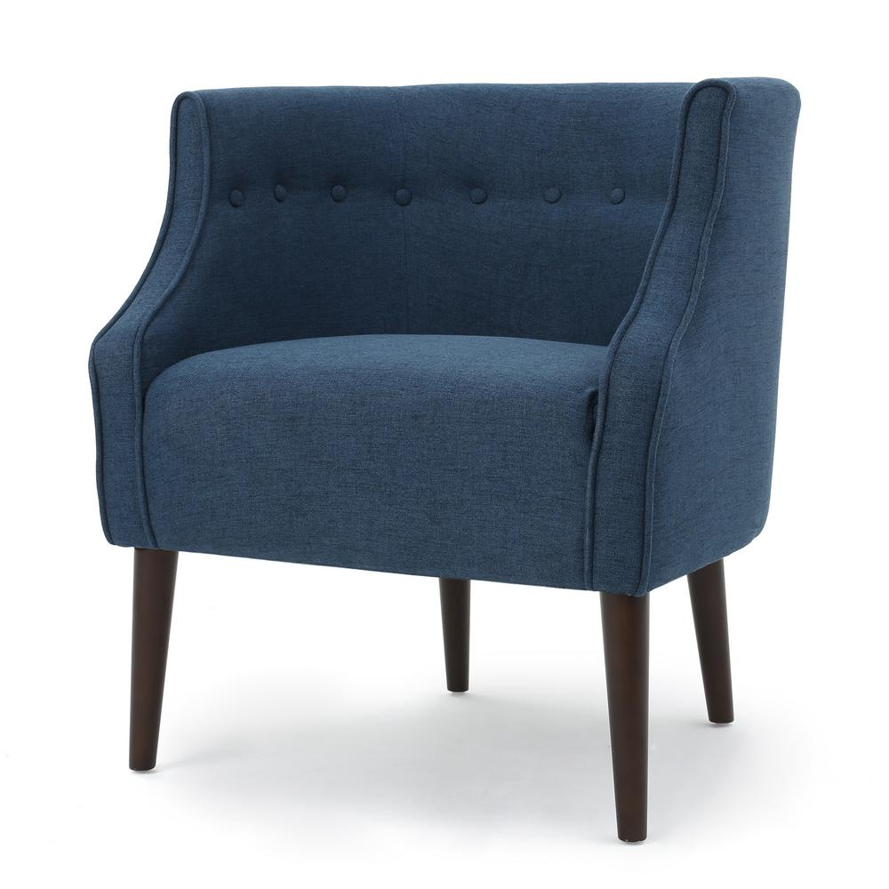 Noble House Raphael Navy Blue Fabric Club Chair 300281 The Home Depot