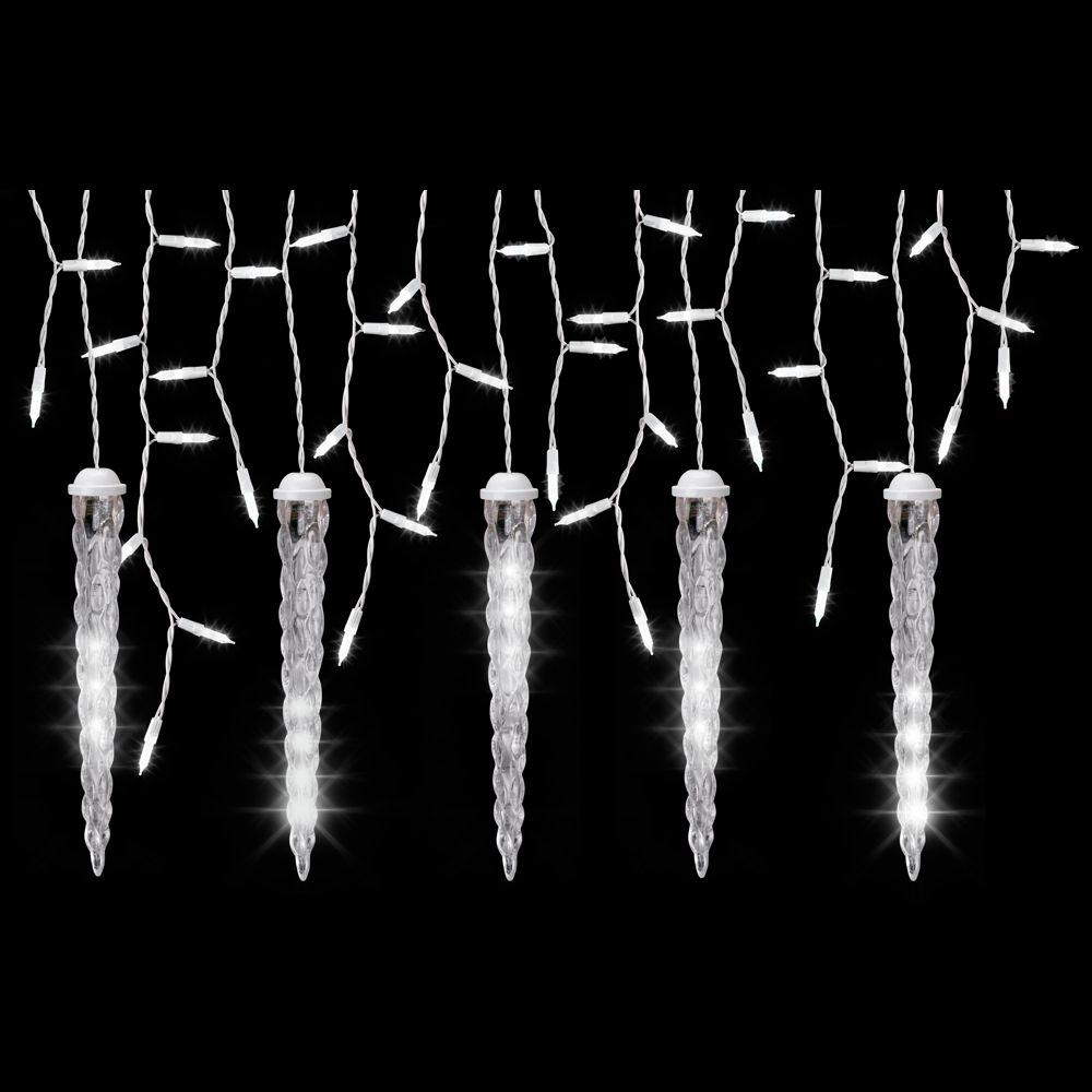 lightshow 5 light white icicle string light set with shooting star icicles