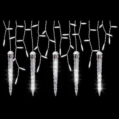 5-Light White Icicle String Light Set with Shooting Star Icicles - LightShow - Twinkling - Icicle Lights - Christmas Lights - The Home