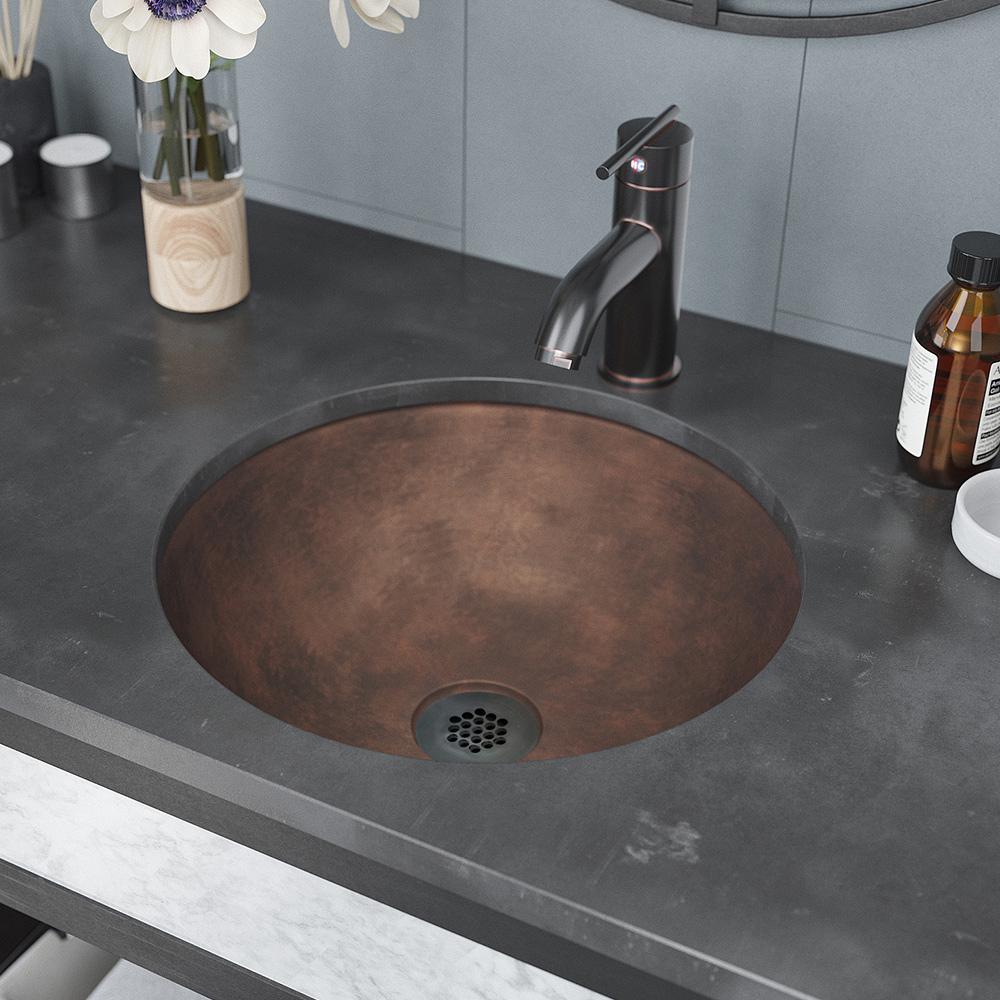 Rene Dual-Mount Bathroom Sink in Bronze with Grid Drain in Antique Bronze