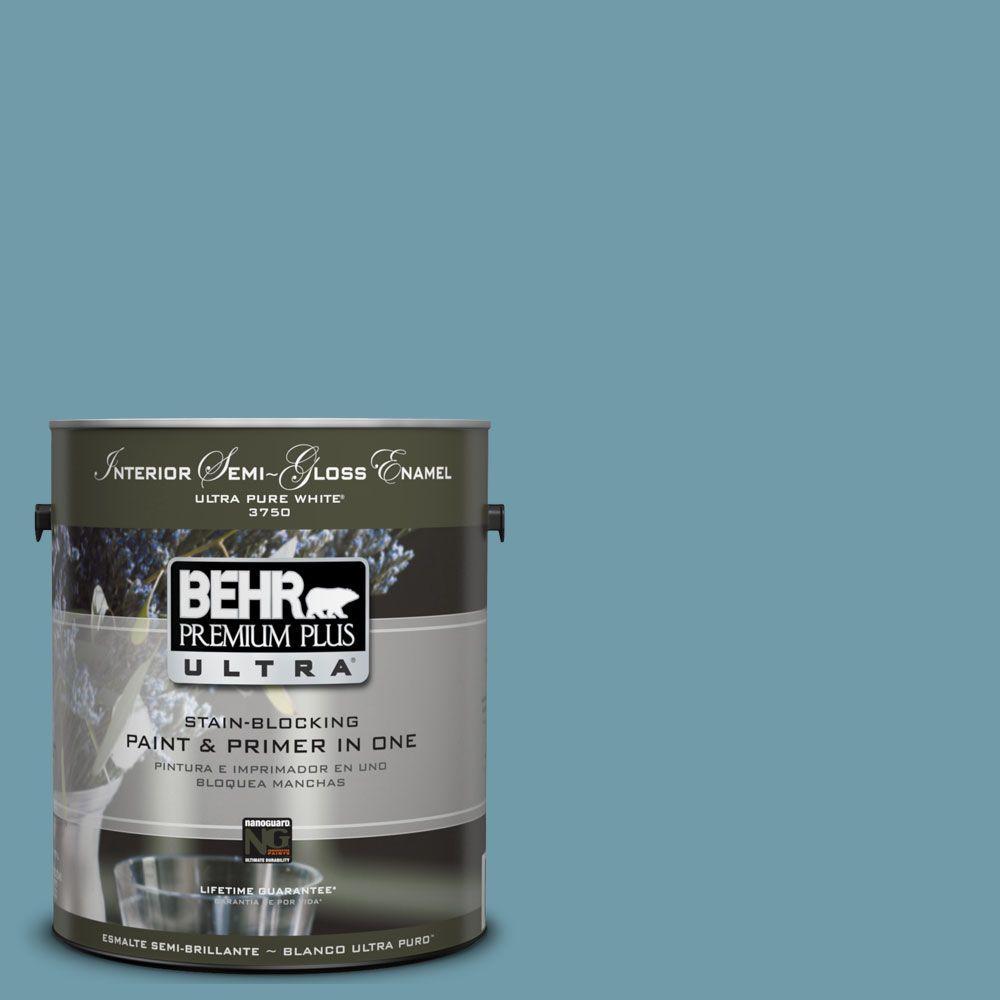 BEHR Premium Plus Ultra 1 gal. #UL220-2 Voyage Semi-Gloss Enamel Interior Paint and Primer in One