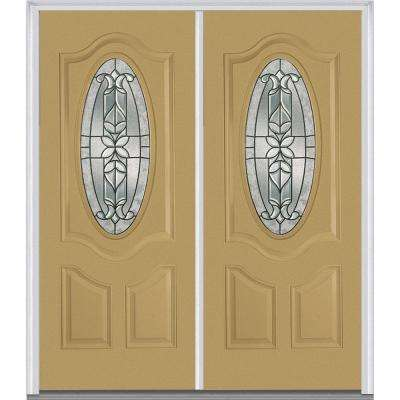 72 in. x 80 in. Cadence Right-Hand Inswing Oval Lite Decorative 2-Panel Painted Fiberglass Smooth Prehung Front Door