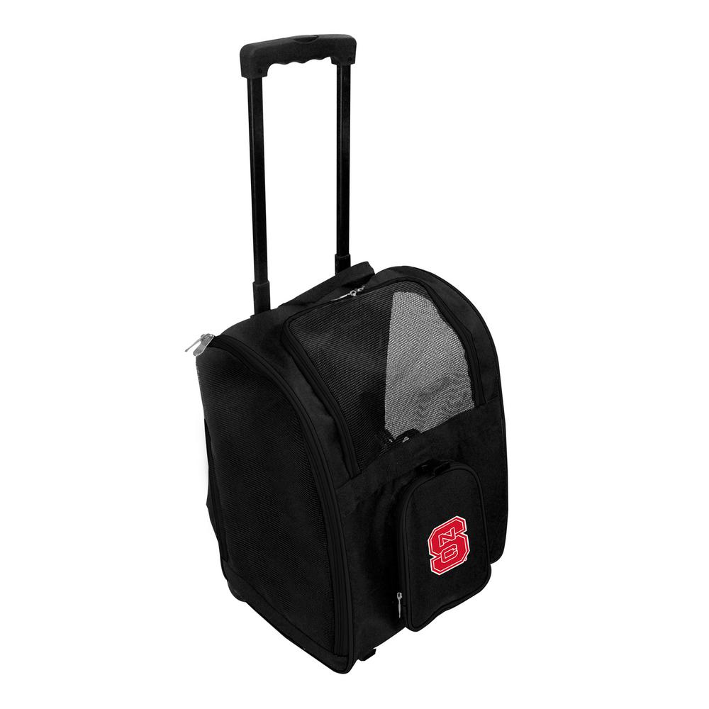 Denco Ncaa North Carolina State Wolfpack Pet Carrier Premium Bag With Wheels In Red
