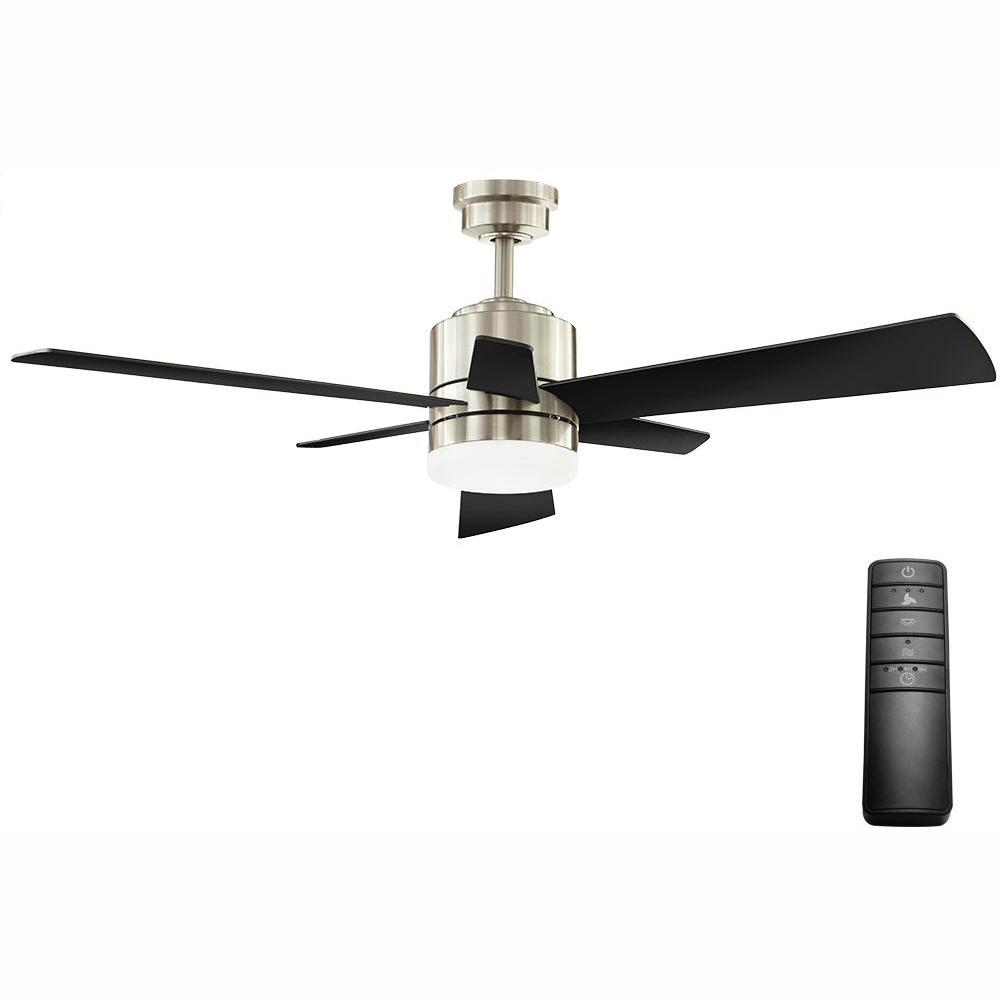 Home Decorators Collection Hexton 52 in. LED Indoor Brushed Nickel Ceiling Fan with Light Kit and Remote Control