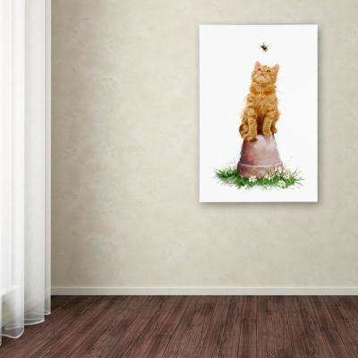 """24 in. x 16 in. """"Cat With Bee"""" by The Macneil Studio Printed Canvas Wall Art"""