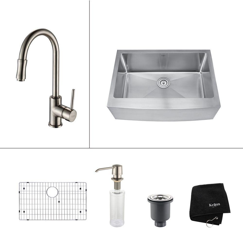 KRAUS All-in-One Farmhouse Apron Front Stainless Steel 30 in. Single Basin Kitchen Sink with Faucet in Satin Nickel