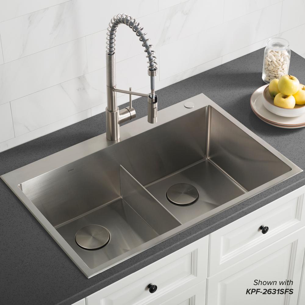 Standart PRO Drop-In/Topmount 16-Gauge Stainless Steel 33 in. x 22 in. Double Bowl 2-Hole Kitchen Sink