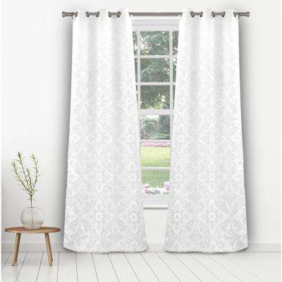 Courtney 36 in. x 96 in. L Polyester Room Darkening Curtain Panel in White (2-Pack)