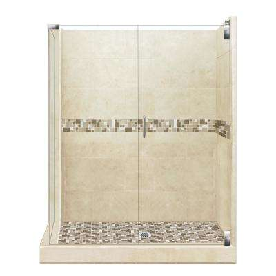 Tuscany Grand Hinged 42 in. x 48 in. x 80 in. Right-Hand Corner Shower Kit in Brown Sugar and Chrome Hardware