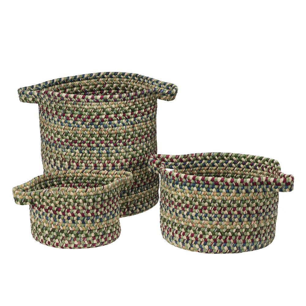 Vintage Farmhouse Round Polypropylene Basket in Palm (Set of 3)