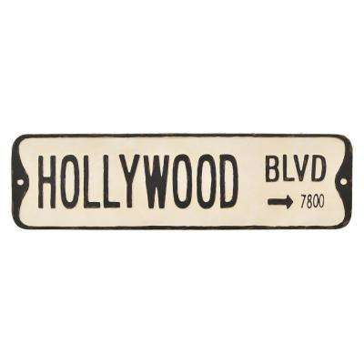 White Metal Novelty Sign-Hollywood