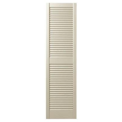 12 in. x 55 in. Open Louvered Polypropylene Shutters Pair in Sand Dollar