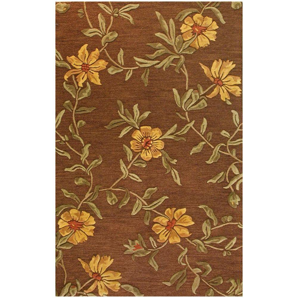 BASHIAN Verona Collection Floral Burst Chocolate 3 ft. 6 in. x 5 ft. 6 in. Area Rug