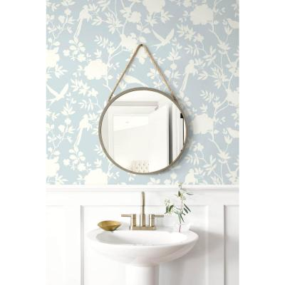 Luxe Haven Hampton Blue Mono Toile Peel and Stick Wallpaper Covers 40.5 sq. ft.
