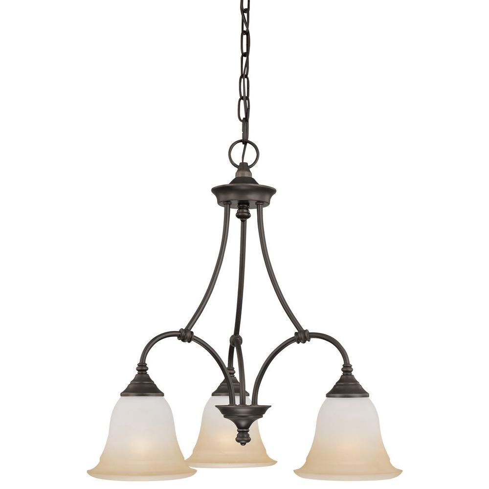 Harmony 3-Light Aged Bronze Chandelier