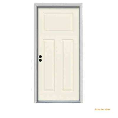 32 in. x 80 in. 3-Panel Craftsman Vanilla Painted Steel Prehung Right-Hand Inswing Front Door w/Brickmould