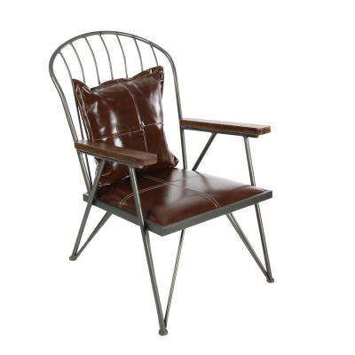 25 in. x 34 in. Vintage Metallic Gray Iron Chair with Brown Leather Cushions