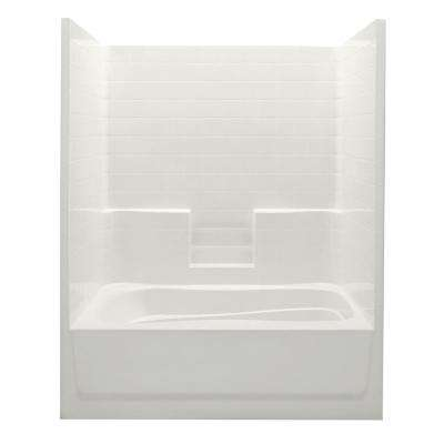Everyday 60 in. x 42 in. x 74 in. Right Drain 1-Piece Bath and Shower Kit in Biscuit