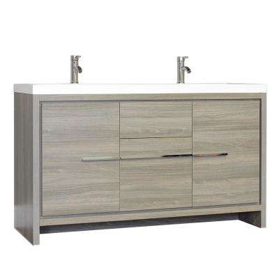 The Modern 56.625 in. W x 19.875 in. D Bath Vanity in Gray with Acrylic Vanity Top in White with White Basin