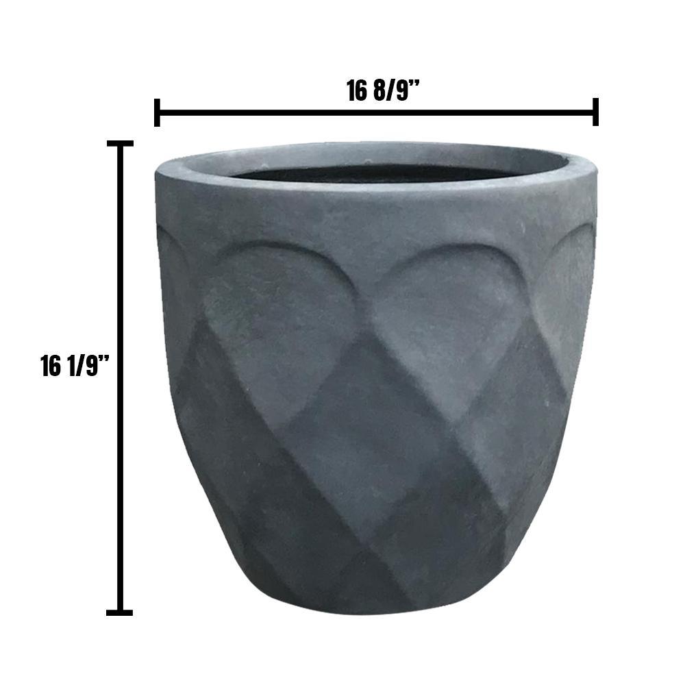 Medium 17 in. Dia Lightweight Concrete Modern Retro Round Charcoal Planter