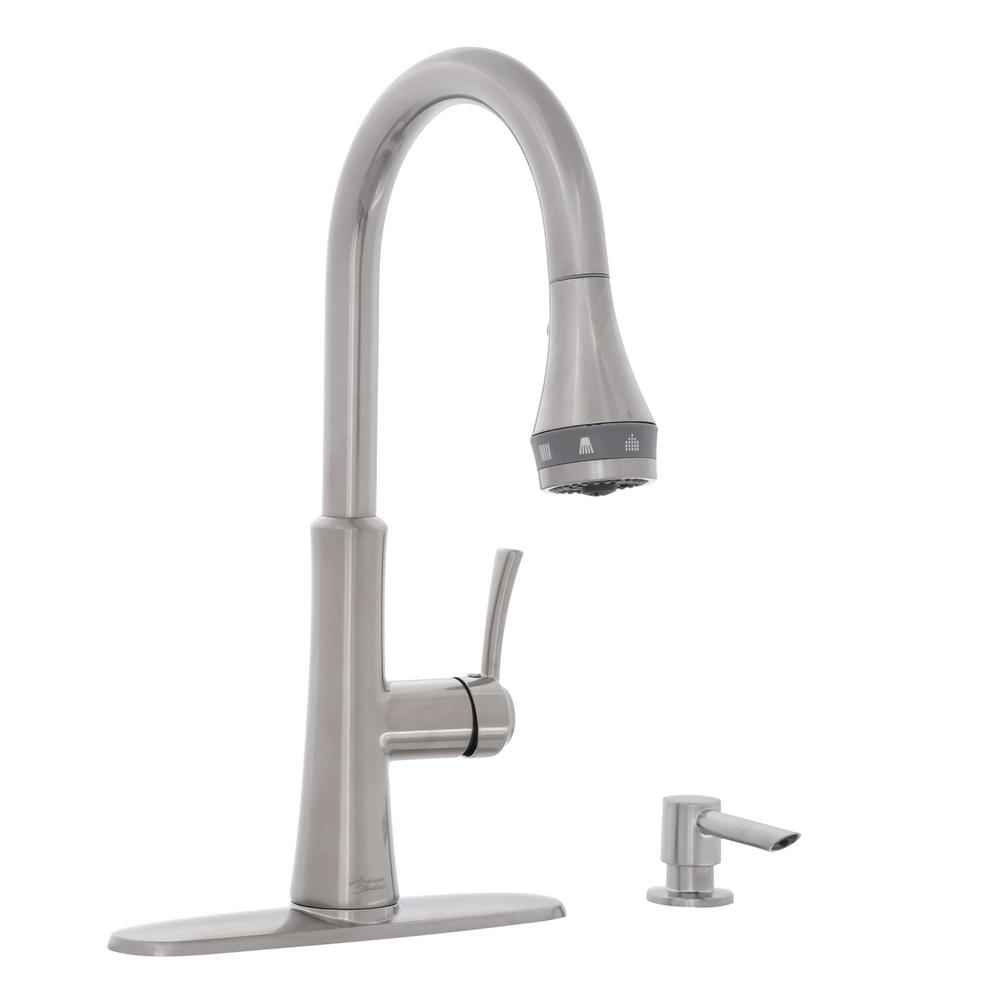 American Standard Huntley Selectflo Single Handle Pull Down Sprayer Kitchen Faucet In Stainless Steel 7009ssf The Home Depot
